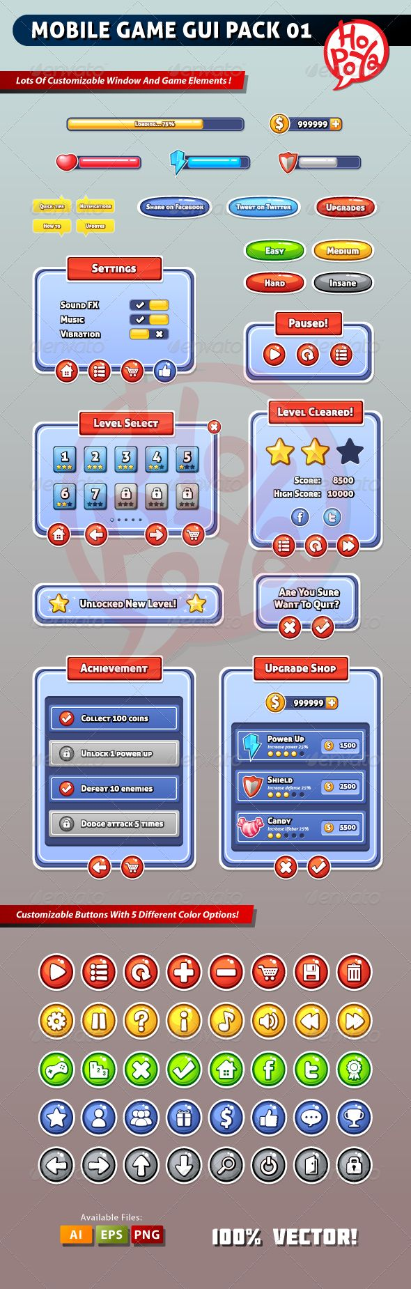 Mobile Game GUI Pack 01 - Web Elements Vectors