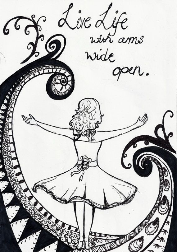 Cute Bedroom Drawings: Live Life With Arms Wide Open. A4 Print Of Original Pen