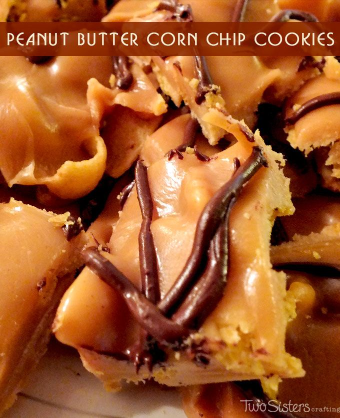 Peanut Butter Corn Chip Cookies - an easy and unique bar cookie recipe made with Fritos, peanut butter and chocolate.  For more great cookie recipes follow us at http://www.pinterest.com/2SistersCraft/