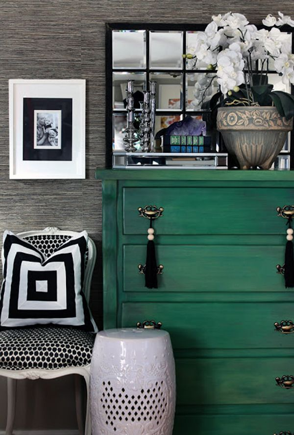Green dresser + black and white mixed prints