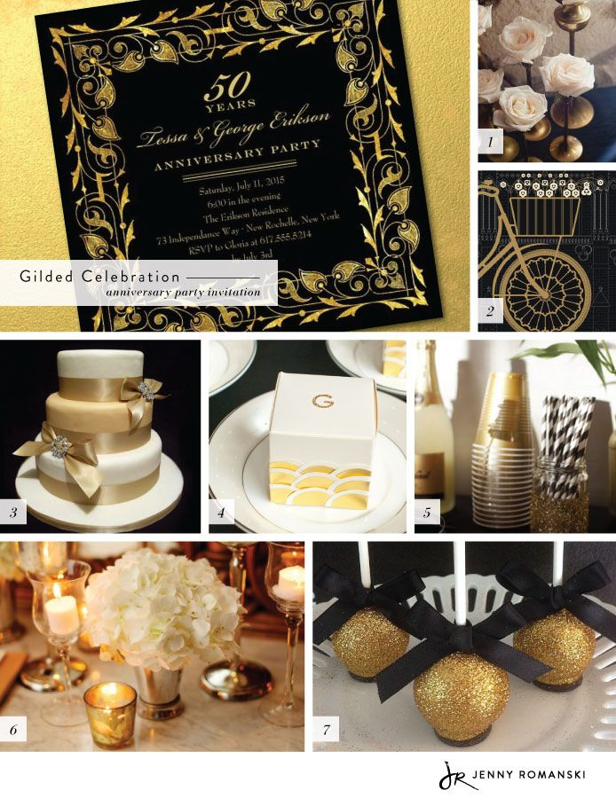 Black and Gold Party inspired by Gilded Celebration Anniversary Party Invite by Jenny Romanski from @Wedding Paper Divas