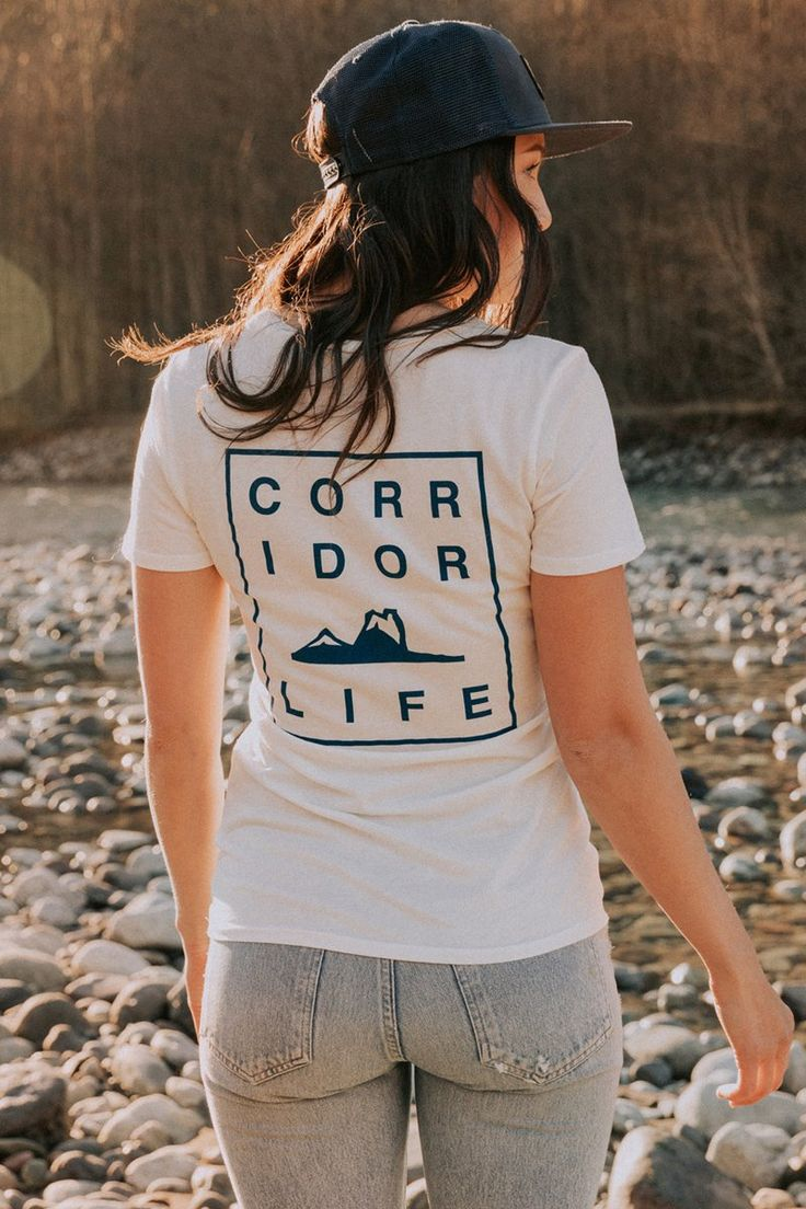 Nita Tee. Nice and clean in the front with a sweet stacked text print on your back!