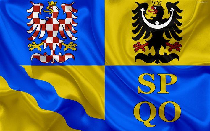 Download wallpapers Flag of Olomouc Region, silk flag, 4k, official symbols, flags of administrative units, Czech Republic, Olomouc Region