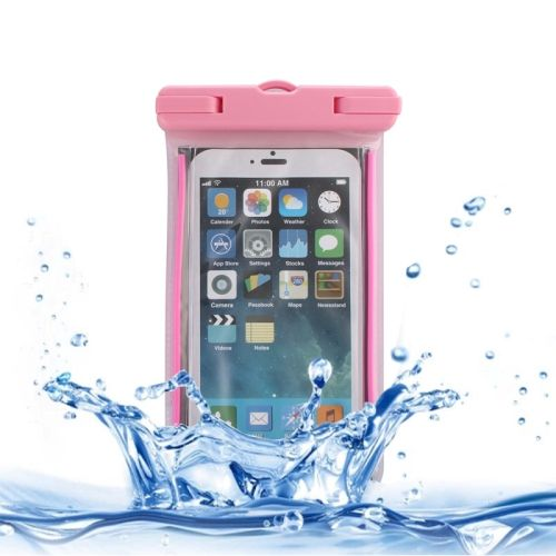 [$2.29] Fluorescent Transparent Open Side Universal Waterproof Bag with Lanyard & Armband for iPhone 6S Plus, Samsung Galaxy Note 5 & Note 4 / A8 / S6 edge+, Huawei P8 & P7 / Honor 6 Plus(Pink)