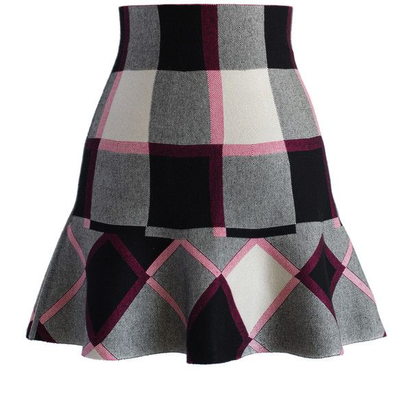 Chicwish Purple Plaid Knitted Skater Skirt (705 MXN) ❤ liked on Polyvore featuring skirts, bottoms, multi, circle skirt, purple skater skirt, stretchy skirt, purple plaid skirt and stretch skirt