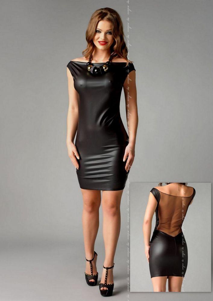 robe noire sexy femme simili cuir dos transparent soir es. Black Bedroom Furniture Sets. Home Design Ideas