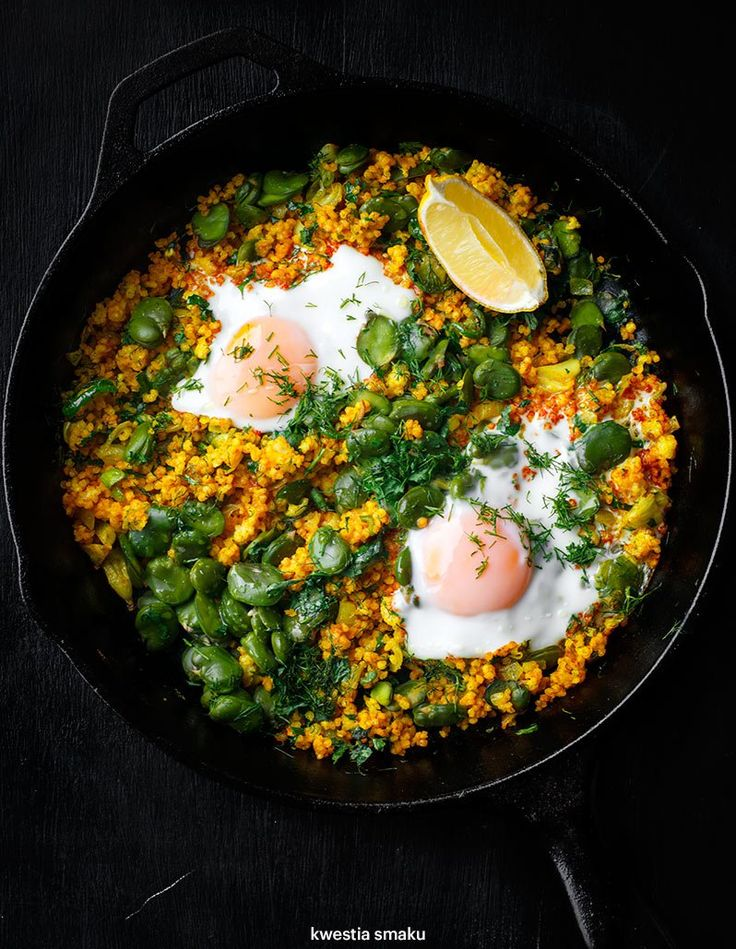 Broad bean stir-fried with millet and turmeric served with poached egg.