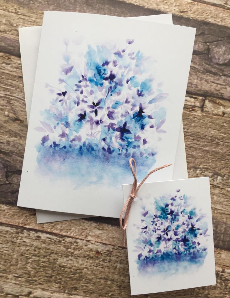 Watercolour illustration greeting card plus matching gift tag. Lilacs blooms by littlesweetnotes on Etsy