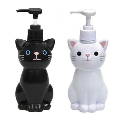 Cat Hand Soap Bottle / Pump Dispenser / White Black / Japanese Goods Cute Kawaii