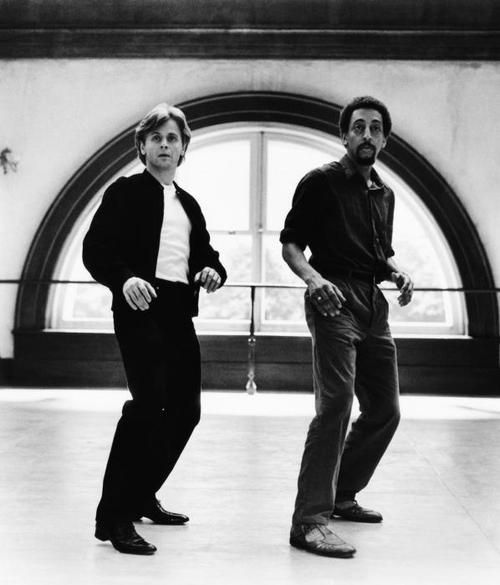 Mikhail Baryshnikov & Gregory Hines in 'White Nights', 1985. Tharp choreographed solos for Hines and Baryshnikov in their signature styles in addition to duets in a composite vocabulary that highlighted each dancer's strengths.
