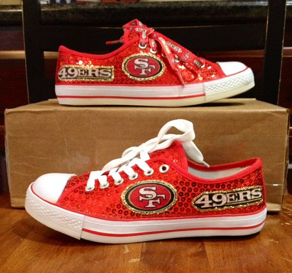 This listing is for the Womens 49er red glitter shoe. THESE ARE NOT THE CONVERSE BRAND. The glitter is larger than the others. Please refer to