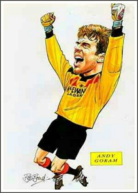 Andy Goram of Rangers in cartoon mode.