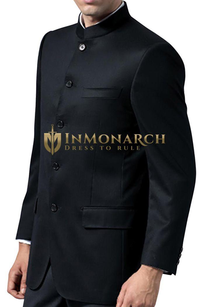 Traditional 5 Button Black Nehru jacket