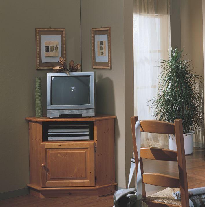 Porta tv ad angolo con vano a giorno in pino massiccio for Poste mobili 0 pensieri small