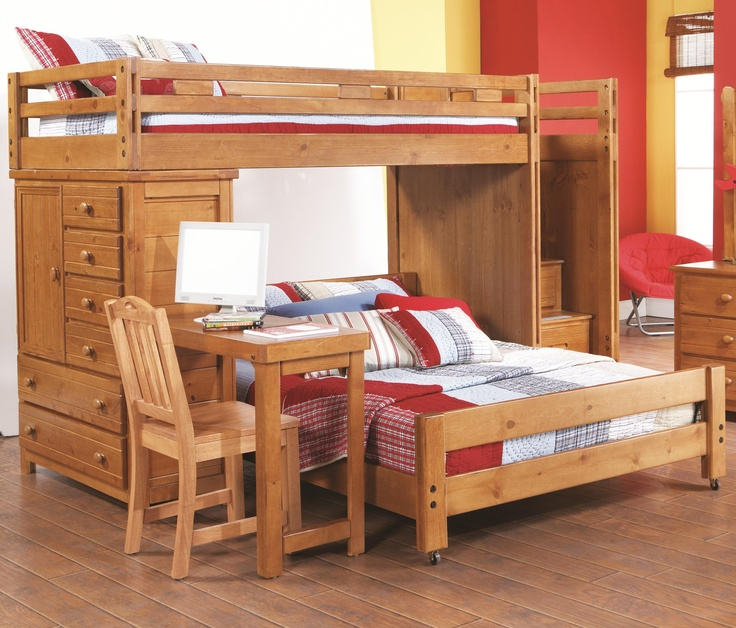 Creekside Twin Full Loft Bed W Attached Desk By Canyon