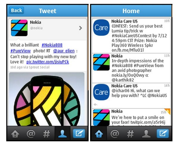 A new free application is available for Twitter phones running the Series 40! Since it is convenient to read and publish posts's Friends, the @ In Touch will not miss mentioning your name and new subscribers, and option # The course will help you find the most interesting tweets from around the world. Twitter can install from the Store Nokia: http://store.ovi.com/content/256340