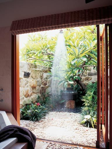 Outdoor shower--THIS, yes this...a bathroom that can be both indoor and outdoor depending on the weather!