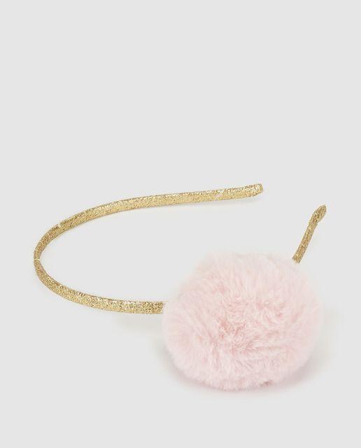 47f3231d887b Diadema de niña Brotes con pompón rosa