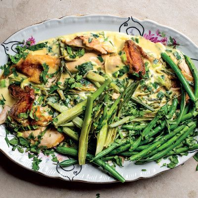 Ultimate roast chicken with creamy leek-and-fennel sauce
