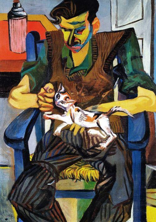 Renato Guttuso (Italian, 1911-1987), Giulio Turcato con il gatto Molotov, 1946. Oil on canvas, 96 x 70 cm.
