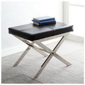 Современный черный кожа мягкая и хром х базовых акцент скамья стул Османской подножка