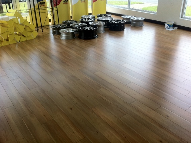 Fast Lock laminate Huon Pine laid in a jax tyres store!!