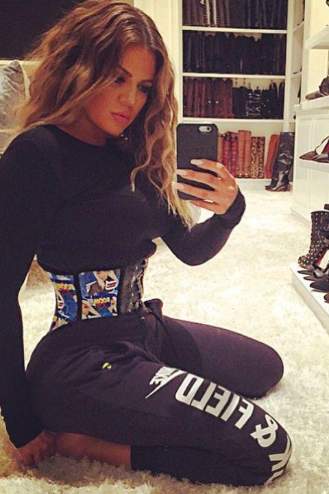 Khloé Kardashian shows off her waist-training corset in her latest selfie