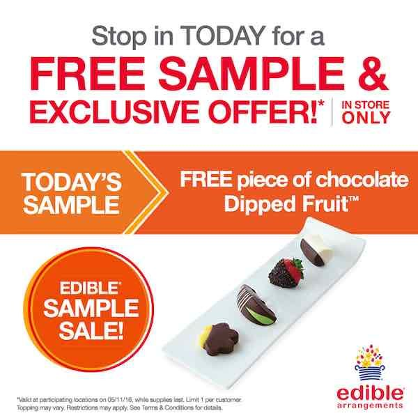 Give that special someone in your life a little something extra today! Get a FREE Piece of Chocolate Dipped Fruit! Just head over the the nearest Edible Arrangements location and mention this offer! It's that easy!