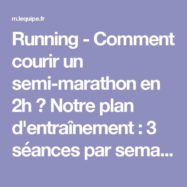 Running - Comment courir un semi-marathon en 2h ? Notre plan d'entraînement : 3 séances par semaine pendant 8 semaines