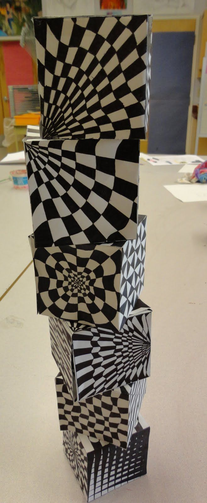 Art Mash: op art cubes - 8th grade