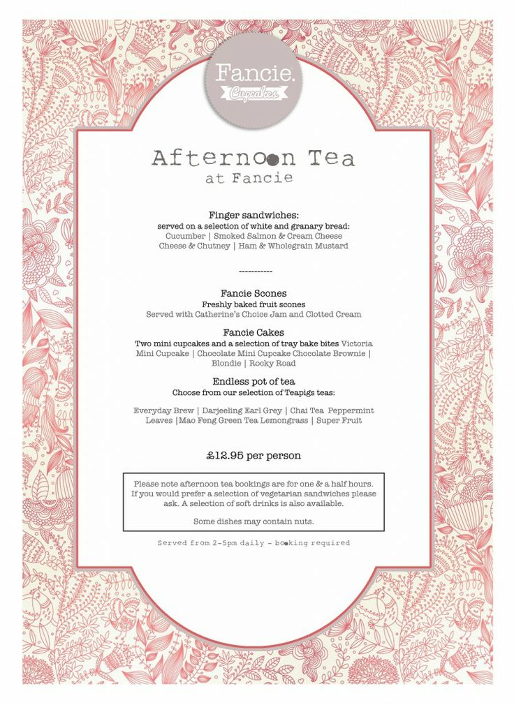 Afternoon Tea Menu Fancie Sheffield | Tea Shop Ideas | Pinterest | Sheffield, Teas and Afternoon tea