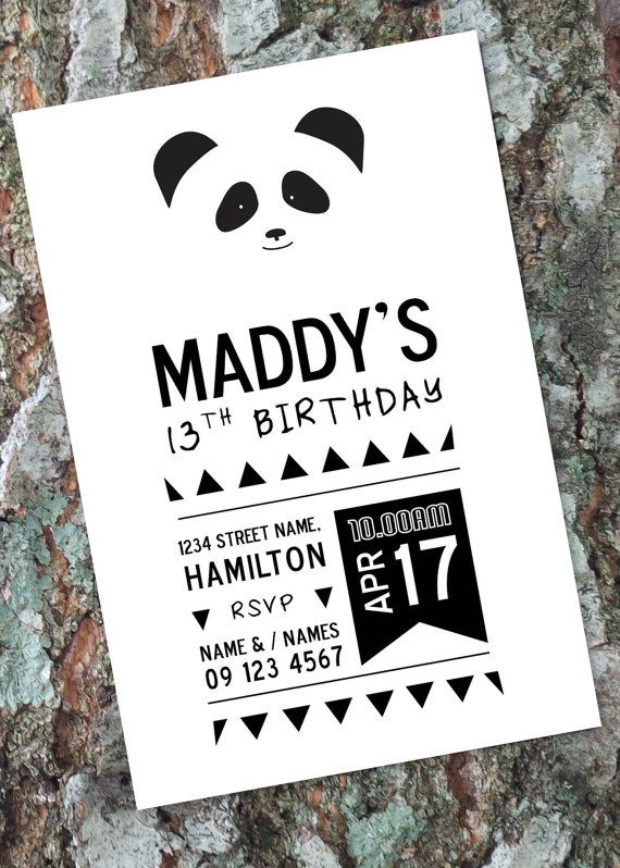 Panda Bear Invitation / Any Age Birthday Party by LittleOakInk