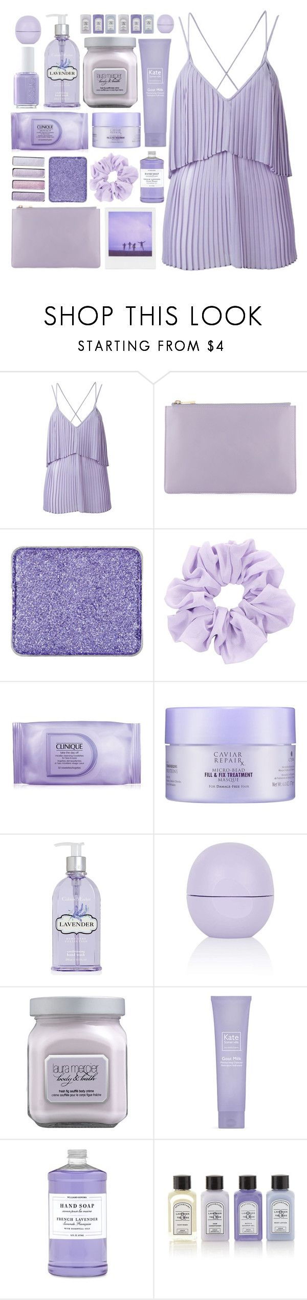 """""""The Brightside"""" by kara-burke ❤ liked on Polyvore featuring Elie Saab, shu uemura, Essie, Clinique, Alterna, Crabtree & Evelyn, Topshop, Laura Mercier, Kate Somerville and Williams-Sonoma"""
