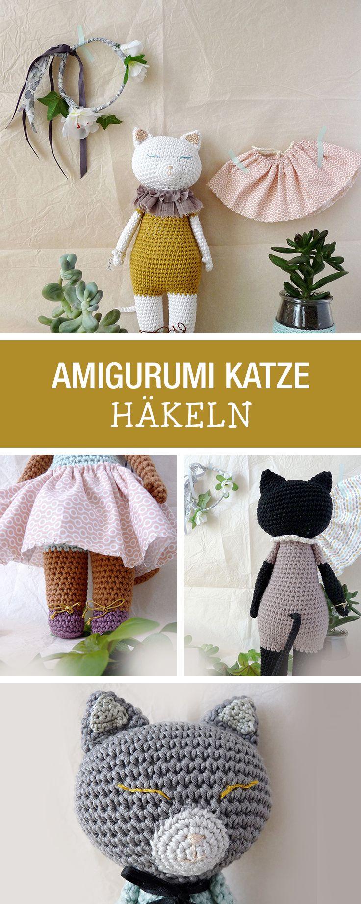 DIY-Anleitung: süße Amigurumi Katze häkeln, niedliche Wohndeko für Katzenliebhaber / DIY tutorial: crocheting cutre amigurumi cat, sweet home decor for cat lovers via DaWanda.com