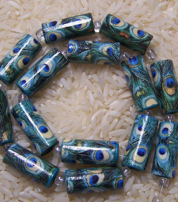 Handmade Paper Beads Peacock Love Tube Style Beads by deeann7: Beads Tops, Beads Handmade, Beads Numbers, Beads Peacock, Beads Mto, Style Beads, Tops Seller, Paper Beads, Handmade Paper