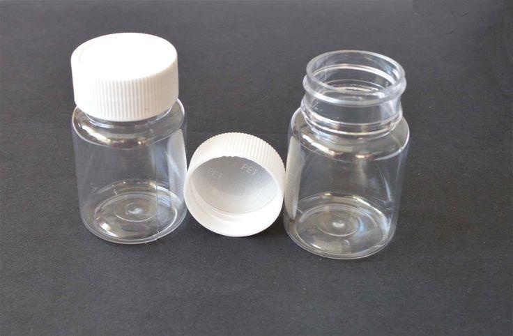 30Pcs 50Ml Sample Vials Clear Plastic Pet Bottles With White Plastic Cap