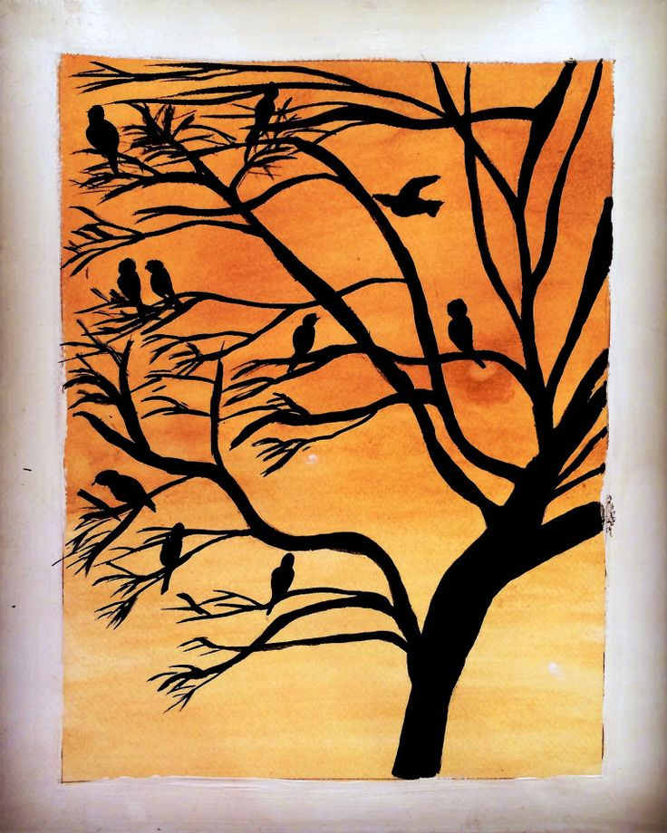 Birds in a tree-India ink and tea staining – Life Sketched