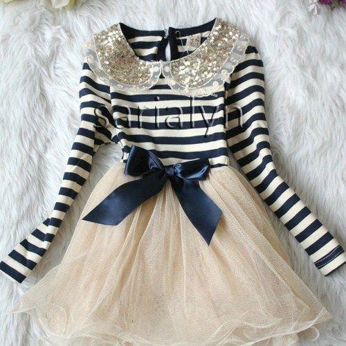 Blue Dress for Toddler Girls Ages 2T to 6T-Navy Blue Stripe Dress Girl   sariasknitncrochet - Children's on ArtFire