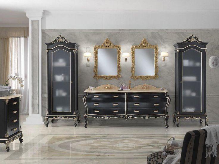 Salle de bain baroque mobilier en noir et miroir dor for Miroir baroque noir