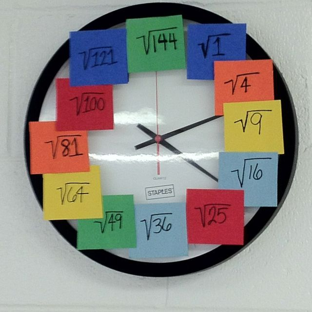 Cute idea... good way to get them to learn square roots without them knowing it because they know the numbers under the post its! It is very inexpensive and not at all time consuming to make. The only problem I can think of with this would be the postit notes loosing their ability to stick onto the clock's face.