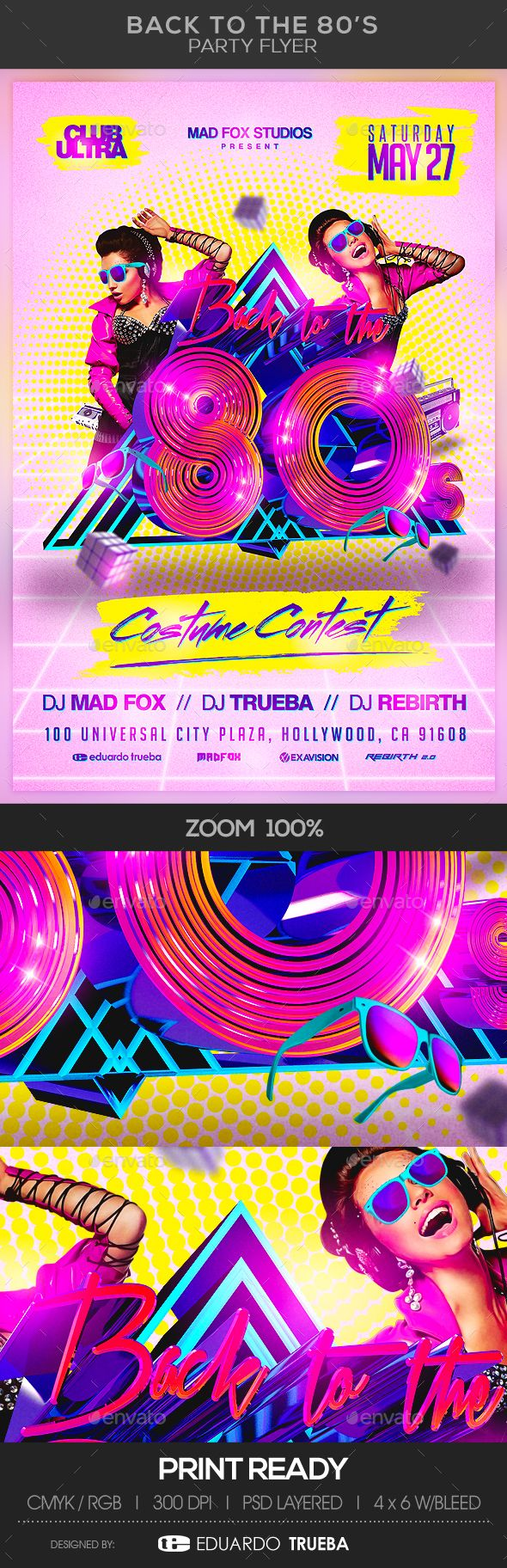 Back to the 80's Party Flyer Template PSD