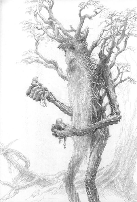 Alan Lee's concept art for  Treebeard from The Lord of the Rings: The Two Towers.: