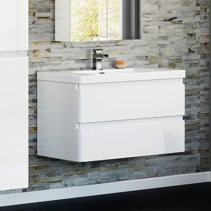 Chicago 900mm Gloss White Wall Hung Basin Vanity Unit £249.99 - Bathroom Furniture - Basin Vanity Units ThinkTaps