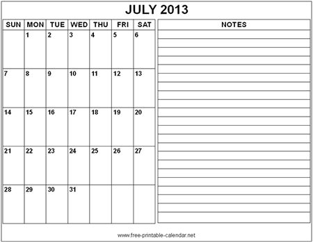 july 2013 notes July calendar 2013 Printable Blank Template #12