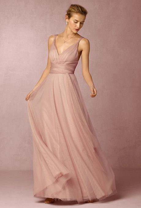 """Brides: Hitherto. """"Zaria,"""" convertible pleated v-neck dress, $250, Hitherto available at BHLDN"""