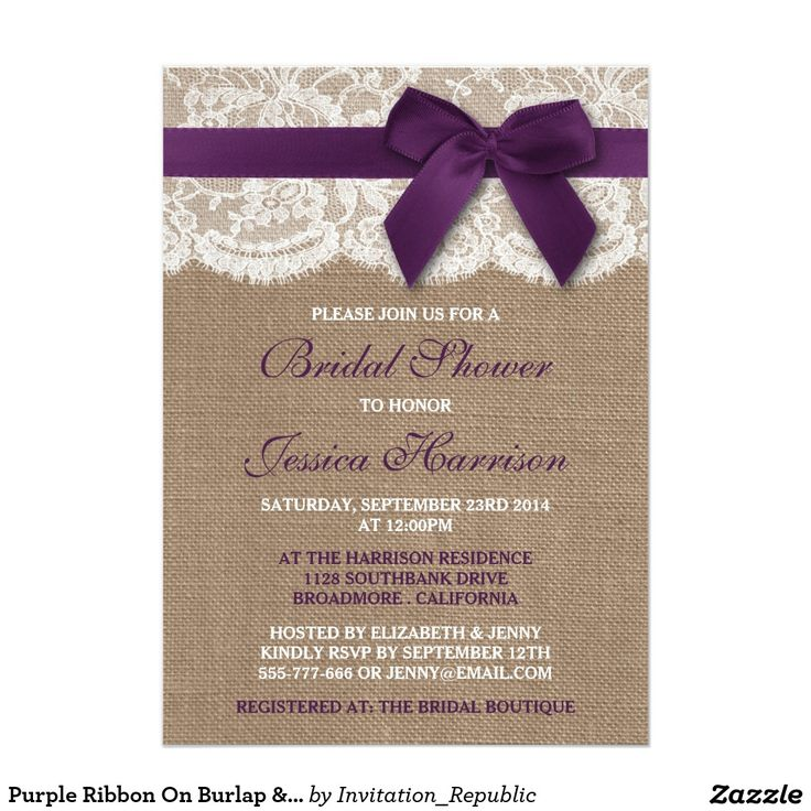 Purple Ribbon On Burlap & Lace Bridal Shower Card