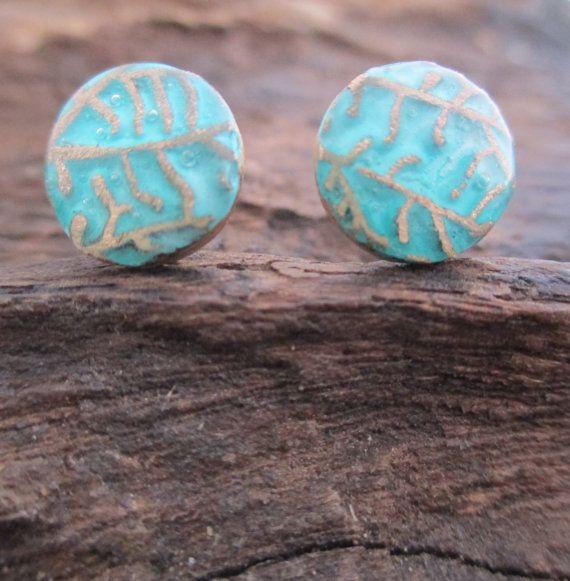 Blue Leaf Stud Earrings Bronze Precious Metal by KemeJewellery