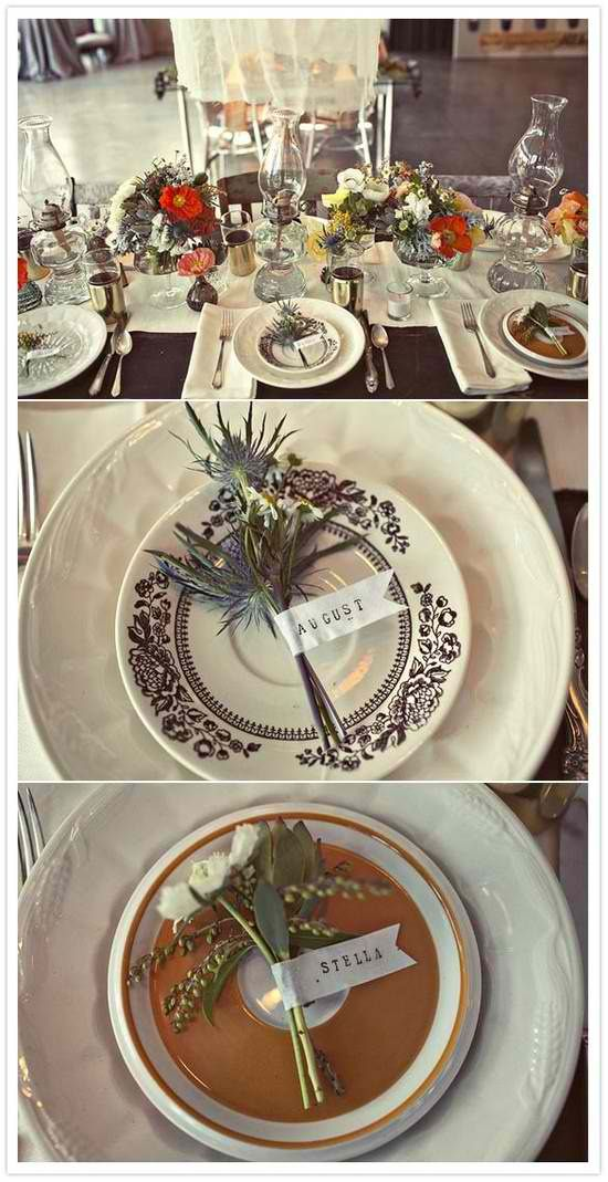 Fall wedding table setting an place card ideas