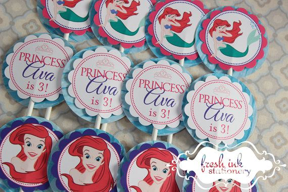 Ariel The Little Mermaid Cupcake Toppers