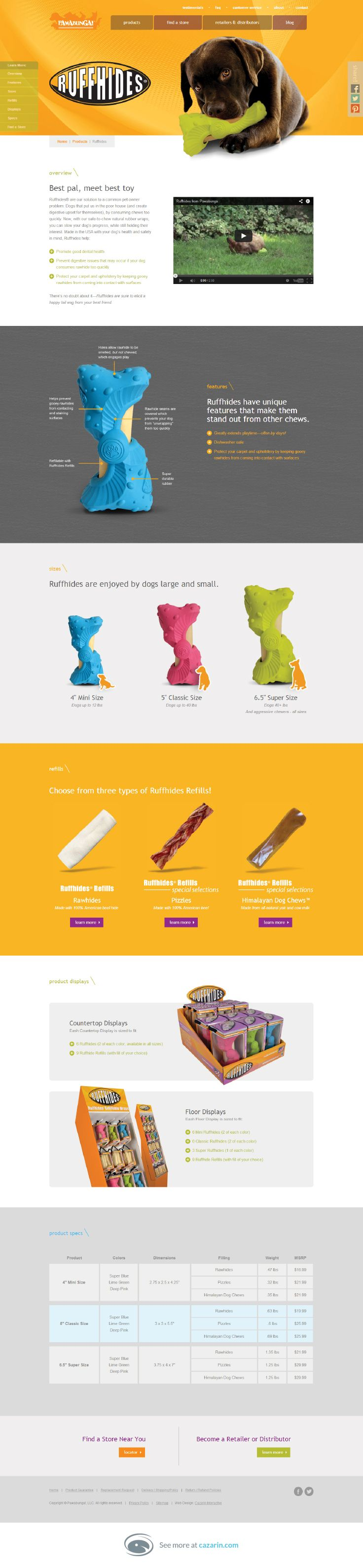 """Pawabunga pet products website, designed by Cazarin Interactive featuring in-depth product page layouts. """"Best pal, meet best toy."""" Awwww...."""